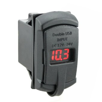 2 in1 Rocker Style with Blue Digital Display Voltmeter 4.2A Dual USB - Intl