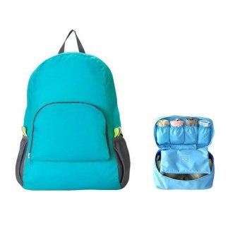 Ba lô du lịch gấp gọn kèm túi đựng đồ lót du lịch(xanh dương)