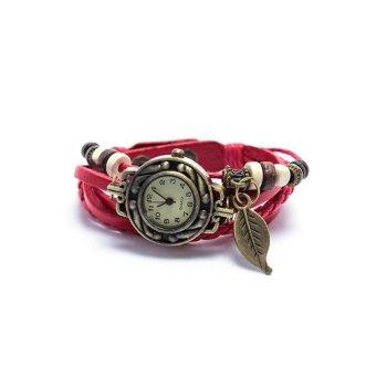 Đồng hồ nữ dây giả da Vintage (Đỏ)