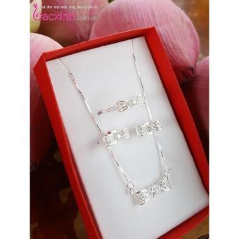 Bộ dây chuyền liền mặt, bông tai và nhẫn trang sức bạc Ý S925 Bạc Xinh - Nơ đẹp PP1429-RYE140827-RR1394