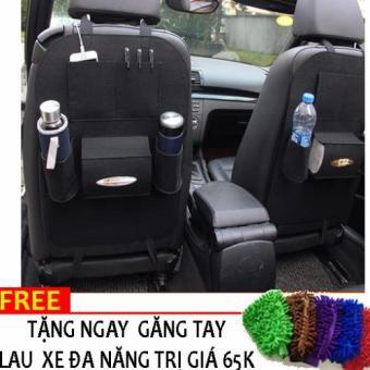Yếm bao để đồ kiêm bảo vệ ghế ô tô N89 +Tặng gang tay lau xe đa năng (Đen)