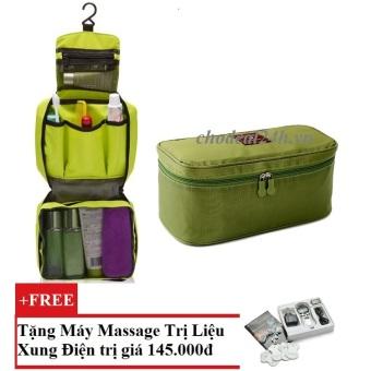 Bộ túi đựng đồ cá nhân du lịch và túi đựng đồ lót du lịch chodeal24h.vn (xanh lá) + Tặng Máy mát-xa xung điện trị liệu cho deal 24h SYK 208 4 miếng dán (Trắng)