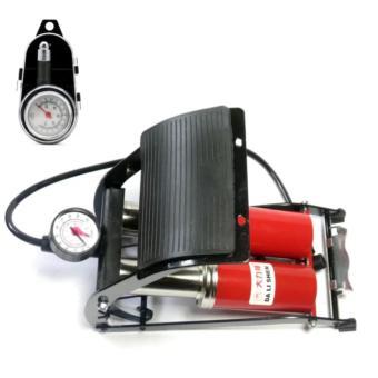 Bộ 1 bơm hơi đạp chân kép ô tô xe máy và 1 đồng hồ đo áp suất lốp xe cơ