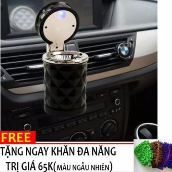 Gạt tàn thuốc lá đèn LED gắn quạt gió ô tô+ Tặng gang tay lau xe đa năng H85