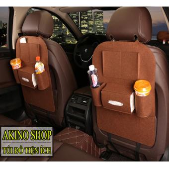 Bộ 4 Túi bao đựng đồ 6 ngăn sau ghế ô tô AKINOSHOP kiêm bảo vệ ghế TND04 (Nâu Đâm)