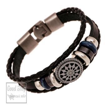 Vòng đeo tay da thời trang mặt tròn họa tiết đen bạc(Đen)
