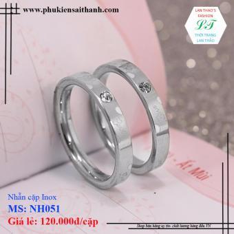 Nhẫn cặp Inox HQ trái tim chữ love đính hạt NH051 (Trắng)