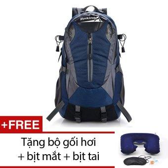 Balo du lịch chống nước siêu nhẹ Seonhi Mnkinox (Xanh) + Tặng bộ 1 gối hơi + 1 bịt mắt + 1 bịt tai