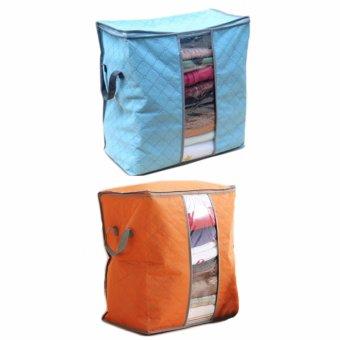 Combo 2 túi vải đựng đồ đa năng (xanh-cam)