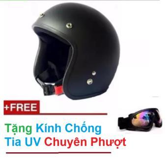 Mũ bảo hiểm 3/4 đầu dành cho phượt thủ + Tặng 1 kính chống tia UV