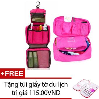 Bộ túi đựng đồ cá nhân du lịch và túi đựng đồ lót du lịch (Hồng) + Tặng túi đựng giấy tờ du lịch