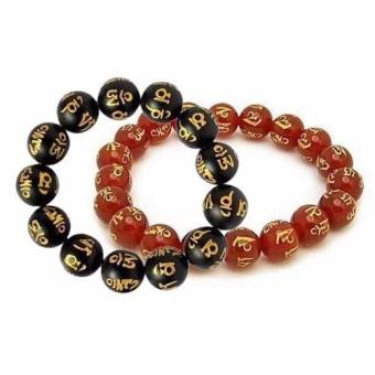 Bộ 2 Vòng đeo tay đá mã não phong thủy khắc kinh Phật
