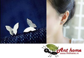 Bông tai (Khuyên tai) hình bướm trắng Simple Style phong cách Châu Âu (BT05)