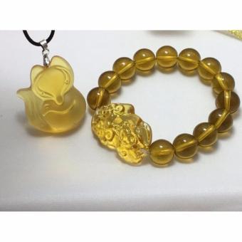 Bộ Dây chuyền hồ ly và vòng tay đá thạch anh VTSL057 (Vàng)