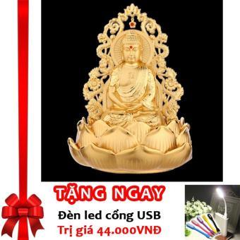 Tượng Phật Thích Ca Mâu Ni Kiêm Lọ Nước Hoa Trang Trí Ô Tô Rồng Vàng Cao Cấp F93 (B) (Vàng Kim) + Tặng đèn LED cổng USB