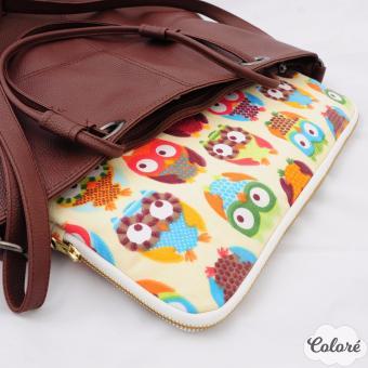 Túi bảo vệ Laptop 13 inch họa tiết chim cú (Trắng kem)