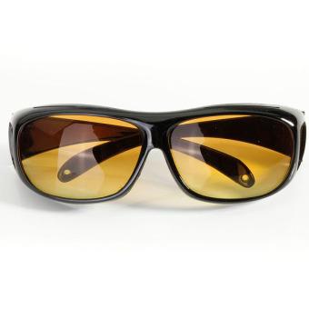 2 X HD Lenses Unisex Sunglasses UV Protection Night Vision Driving Glasses Yellow (Intl)