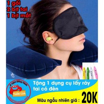 Gối hơi đỡ cổ du lịch gồm 1 bịt mắt 2 bịt tai 1 gối ( Xanh tím than ) tặng free dụng cụ lấy ráy tai