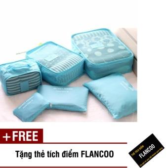 Bộ 6 túi đựng đồ đi du lịch Flancoo 3702 (Xanh dương) + Tặng kèm thẻ tích điểm Flancoo