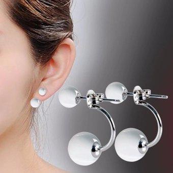 Khuyên tai nữ mẫu 2 hạt ngọc trai 6ly và 10ly thời trang KT999N