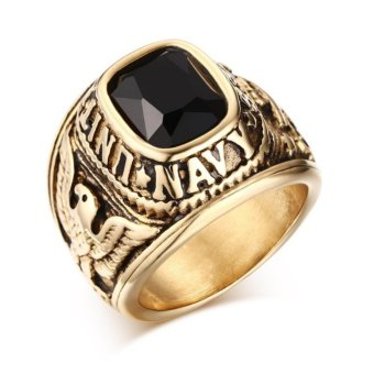 Superior Quality Vintage Army Rings Gold Color Ring With Cz Zircon Stainless Steel Eagle Pattern Ring for Male Wedding Jewelry - intl