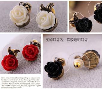 Bông tai nữ (Khuyên tai) hoa hồng đen phong cách Vintage (BT33a)
