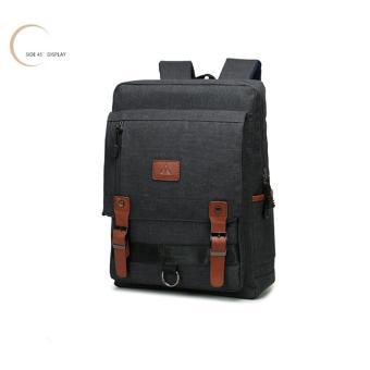 Ba lô laptop túi xách đeo vai thời trang vải bố (Đen)