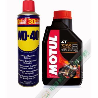 Combo nhớt tổng hợp xe máy mô tô Motul 7100 10W50 1L và chai xịt chống rỉ, bôi trơn WD-40 412ml