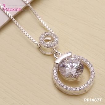 Bộ dây chuyền liền mặt trang sức bạc Ý S925 Bạc Xinh - mắt ngọc PP1487