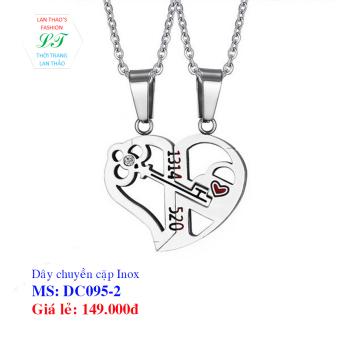 Dây chuyền Inox cặp chìa khóa tình yêu DC095-2 (Trắng)