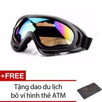 Bộ mắt kính đi phượt + Tặng 1 dao du lịch bỏ ví hình thẻ ATM (Xám)