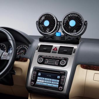 Quạt đôi xoay 360 độ trên ô tô - Nguồn 12V (Đen)