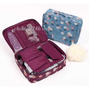 Túi đa năng chống thấm Toiletry nhiều ngăn cao cấp - hoa đỏ CD06