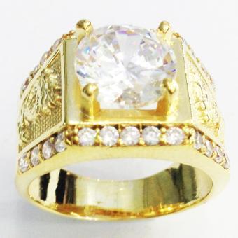 Nhẫn nam đá kim cương nhân tạo mạ vàng 14k