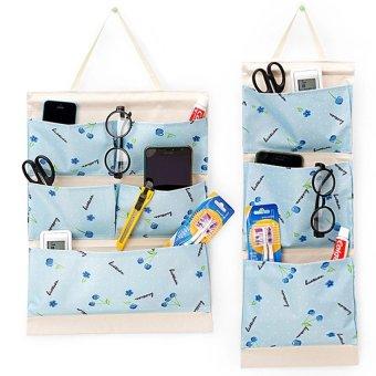 Bộ 2 túi treo nhiều ngăn kèm thanh gỗ (Xanh)