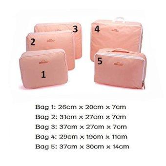 Bộ 5 Túi Du Lịch Bags In Bag Giúp Gọn Hành Lý (Hồng)