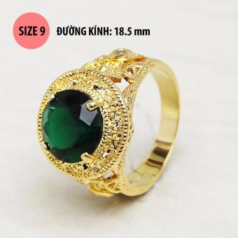Nhẫn thời trang phong cách Retro đá xanh mạ vàng 24k RT536