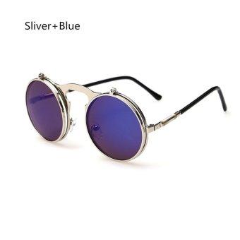 Retro Men Women Flip Up Steampunk Goggles Sunglasses Metal Round Eyewear Lens Sliver+Blue - intl