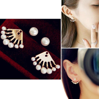 Fashionable Stylish Women Girl Golden Pearl Ear Stud Earring Gift Party