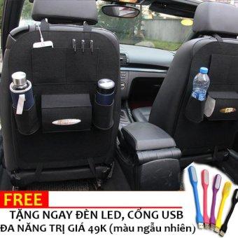 Bao ghế đựng đồ 6 ngăn trên xe ô tô LOẠI 1 kiêm bảo vệ ghế H89 (Đen) + Tặng đèn đa năng