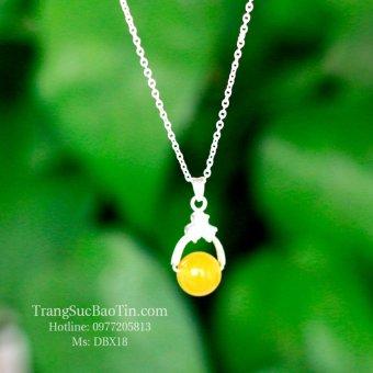 Dây Chuyền Bạc Nữ Đá Topaz Vàng Mệnh Kim - Thổ Phong Thủy BẢO TÍN