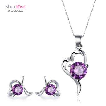 Bộ dây chuyền bông tai trái tim tình yêu đính đá thời trang SPT-T101
