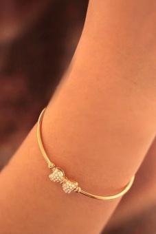 Fancyqube Elegant Bow Bracelet Open Cuff Rhinestone Bangle Gold