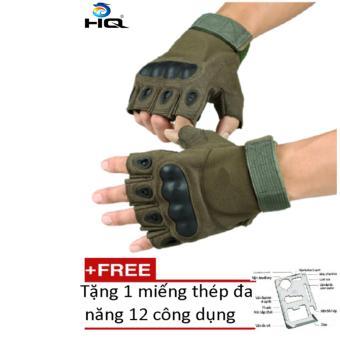 Găng tay chiến thuật hở ngón HQ STORE 2TI15-1 size XL (Xanh lính) + Tặng 1 miếng thép đa năng 12 công dụng