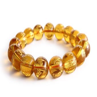 Vòng đeo tay đá phong thủy Mã Não Khắc Kinh Phật (Vàng)