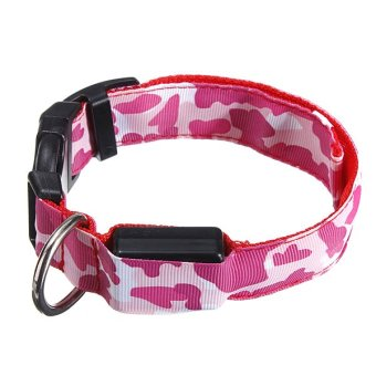 LED Dog Pet Adjustable Nylon Flashing Glow Safety S M L Collar Red - intl