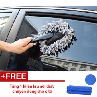 Chổi lau chùi, cọ rửa cho ô tô siêu mịn - tặng 1 khăn lau nội thất ô tô