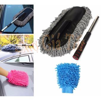 Bộ chổi lau xe ô tô sợi dầu cỡ lớn kèm găng tay lau rửa vệ sinh xe CS485