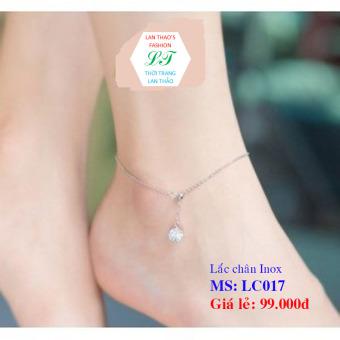 Lắc chân inox 1 hạt châu Fresizze LC017 (Trắng)