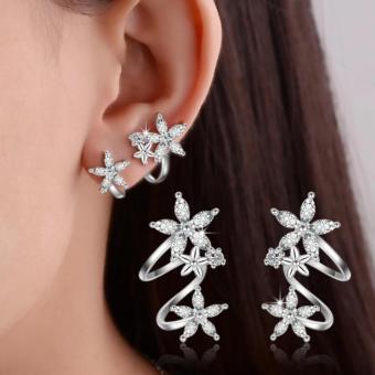 Bông tai Hàn Quốc vành hoa nữ tính bạc S925